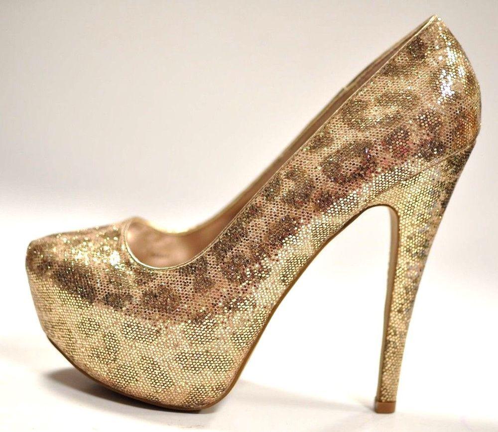 c912e55e41f Charlotte Russe Glittery Gold Leopard Print Platform Pumps High Heels 5.5
