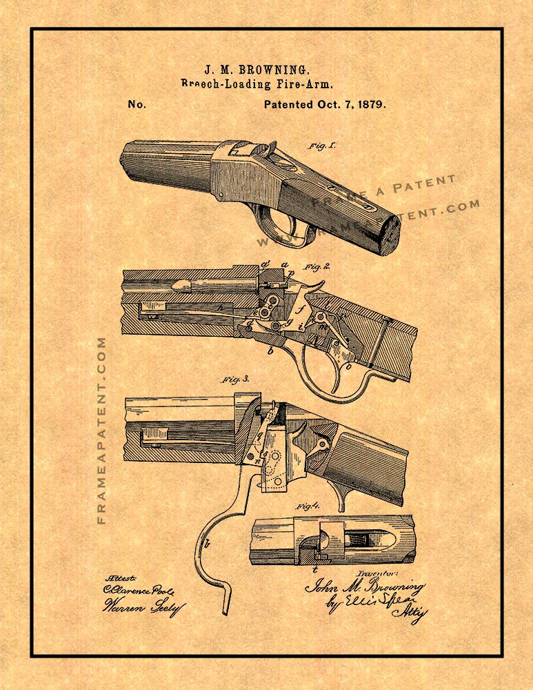 1894 Winchester Lever Action Rifle Patent Print Art Drawing Poster