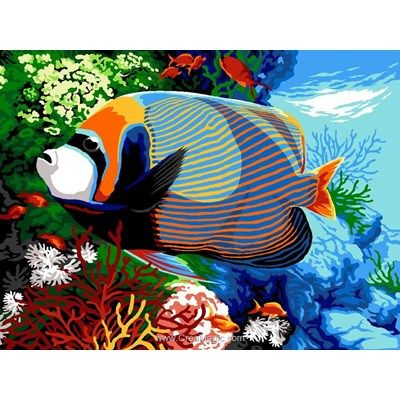 /Poissons tropicaux Aquarium Margot de Paris Tapisserie//broderie sur toile/