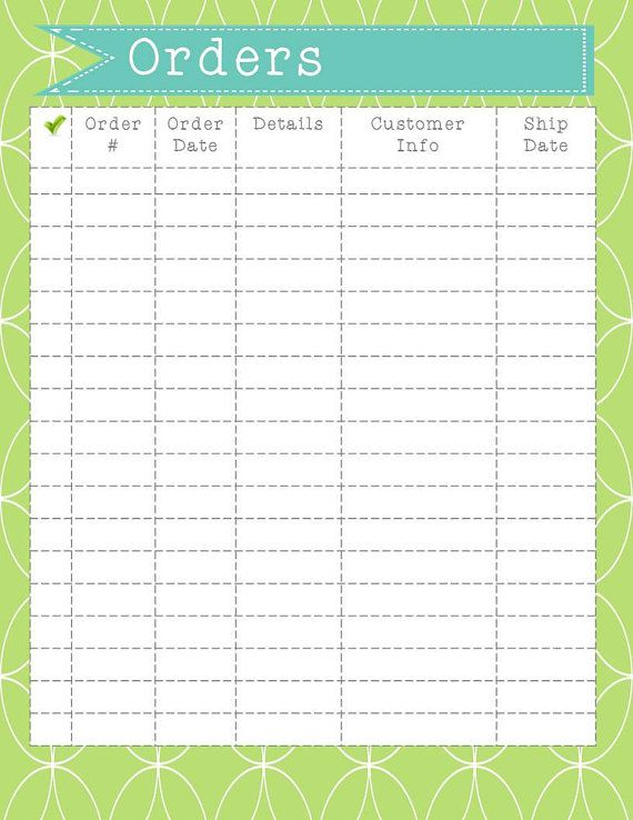 Order Form Printable Instant Download Order Organization