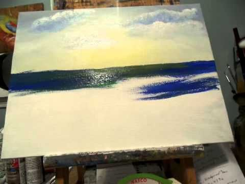 How to paint the ocean Acrylic Painting Lesson 2,