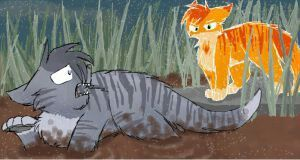 """Flametail, help me! -Jayfeather """"Why? ... you did not save me...- flametail"""