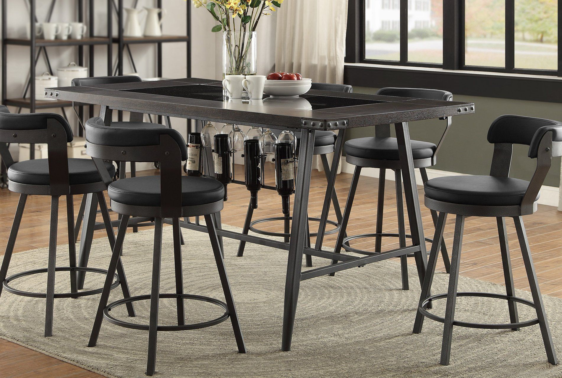 Metal wood and glass counter height dining table appert collection