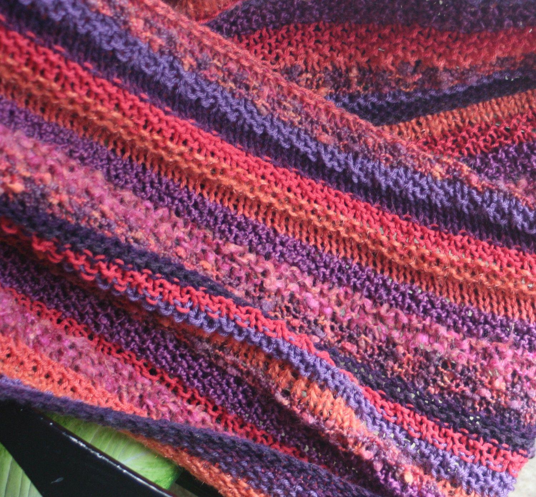 Afghan, Throw, Blanket, Hand knit, Purple, Coral Red, Orange. $185,00, via Etsy.