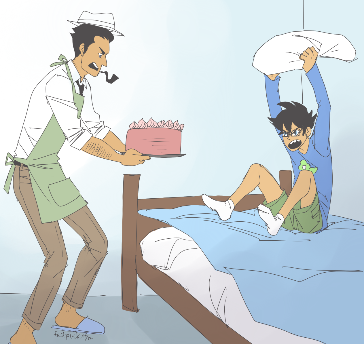 ((SON, PLEASE EAT THE CAKE I MADE FOR YOU. no dad! i ...