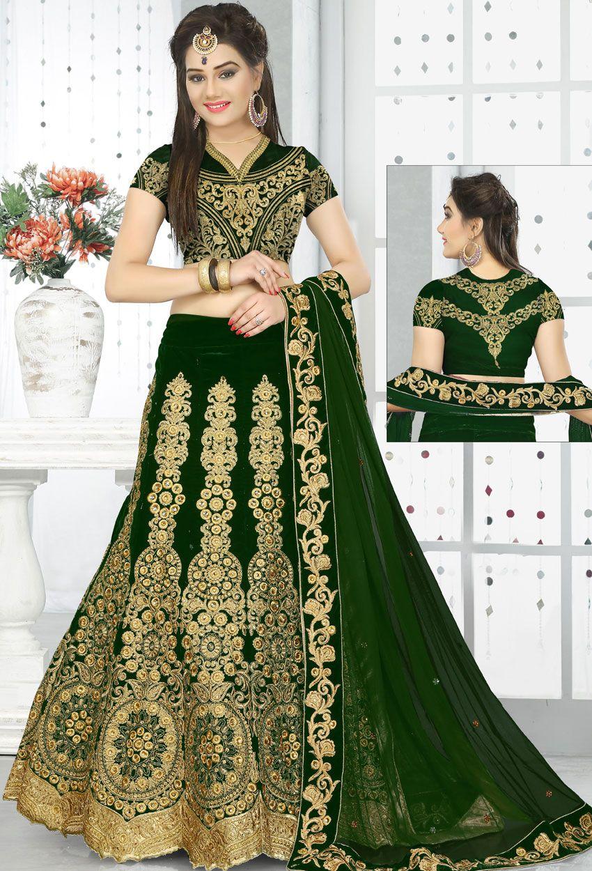 136b216604107 Green Velvet Circular Lehenga Choli #green #ceremoniallehenga #stone  #panellength #stylish #designer #Trendy #partywear #lehenga #lengha  #onlinelehenga ...