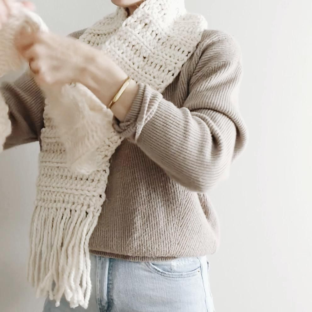 The Berkeley | chunky long scarf with fringe easy