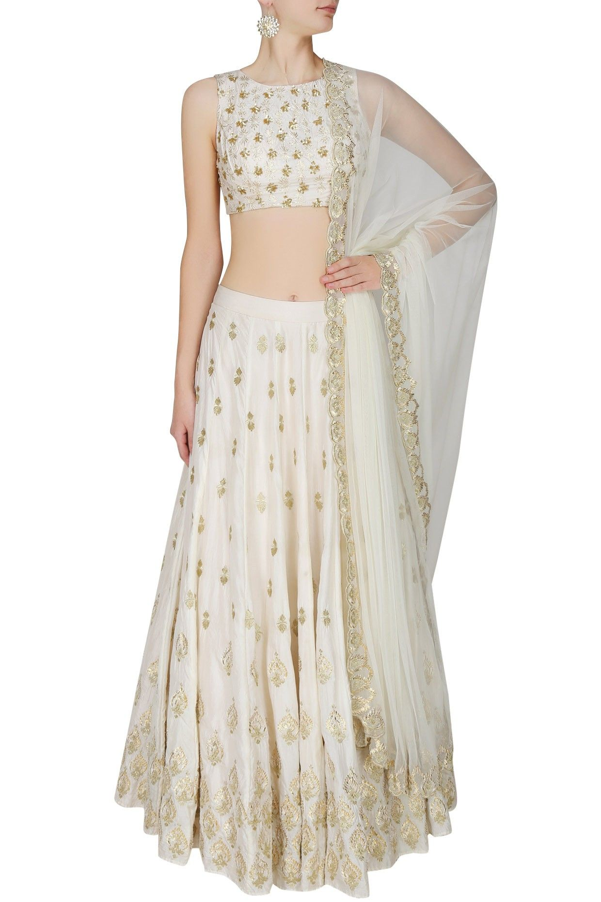 Simple off white wedding dresses  ASTHA NARANG  Off White And Gold Gota And Sequins Motifs Lehenga