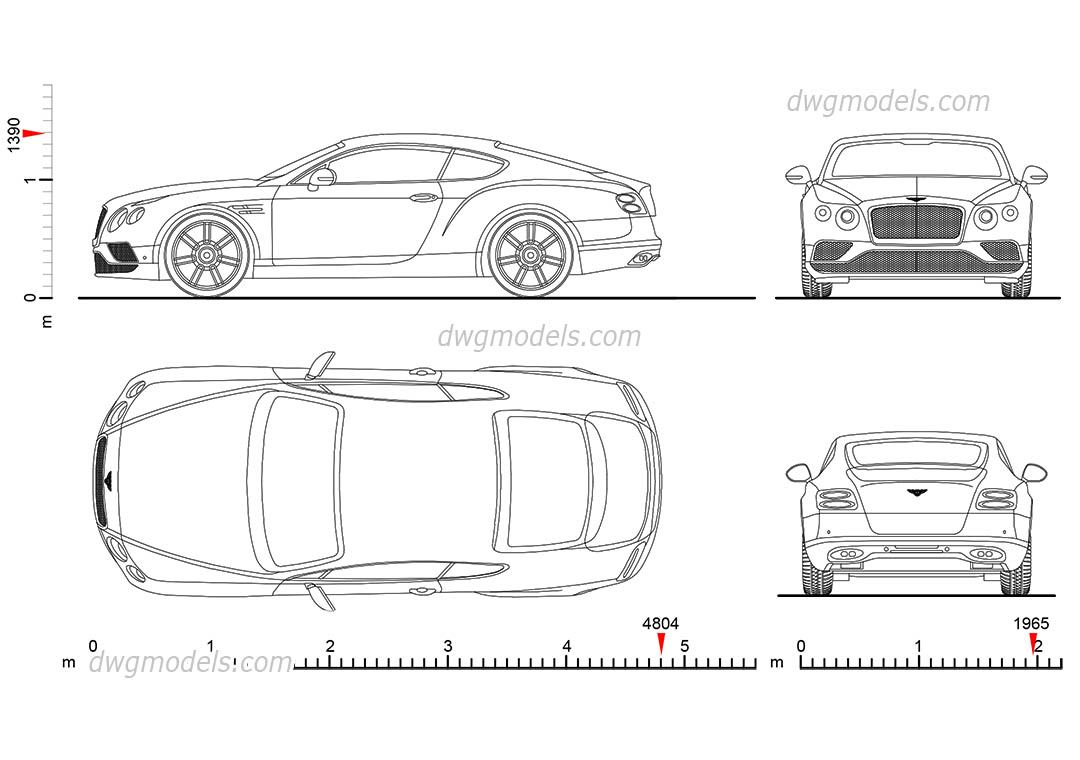 Bentley continental gt cad blocks free dwg file cars - Voiture autocad ...