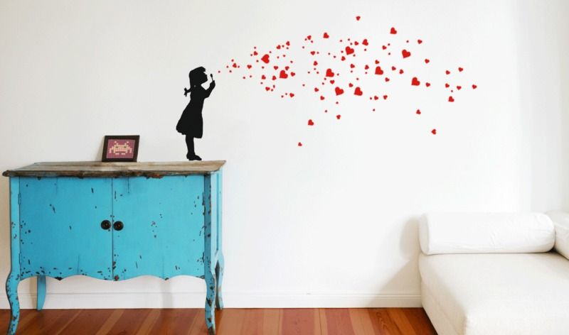 HEART BUBBLE LOVE wall decal DIY soap bubbles girl Wall stickers
