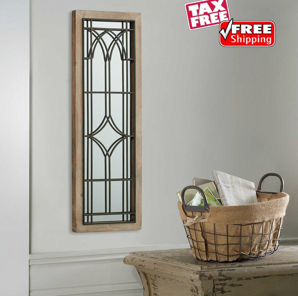 Rustic wall art mirror wood metal entryway bedroom hanging farmhouse