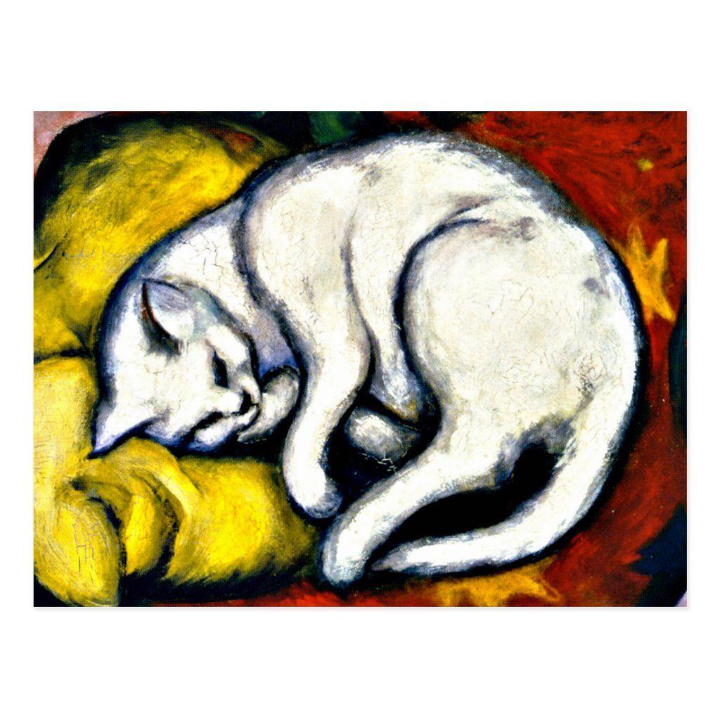 Franz Marc White Cat Franz Marc 1912 Painting Postcard Zazzle Com Katzen Kunst Weiße Katze Katzen Malereien