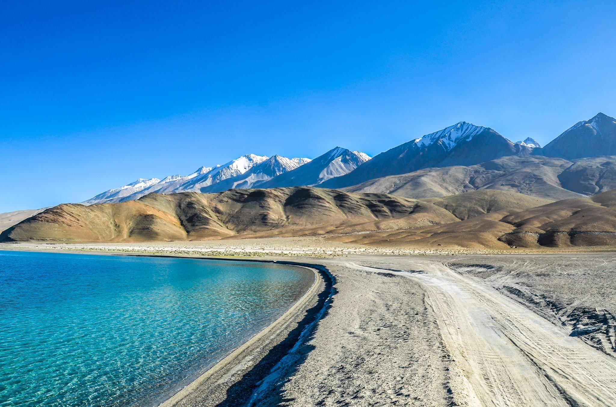 Pangong Tso is located along the border of Ladakh, India and Ngari, Tibet. It is one of the most beautiful lakes on the Tibetan Plateau. I took this photo the other day on the Ladakh side near the small village of Merak. at Pangong Lake.