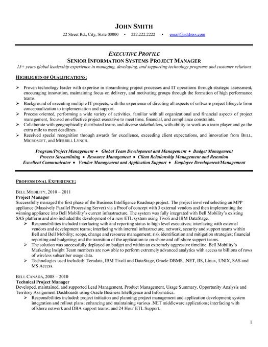 A professional resume template for a Senior Project Manager Want - resume for photographer