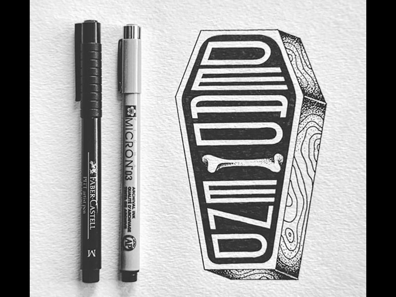 DEAD END by Catalina Gutierrez  Typography, illustration, coffin, handtype, black and white
