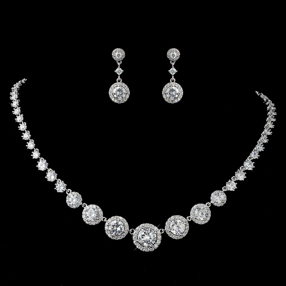 Round Pave CZ Wedding Jewelry Set Silver Gold or Rose Gold