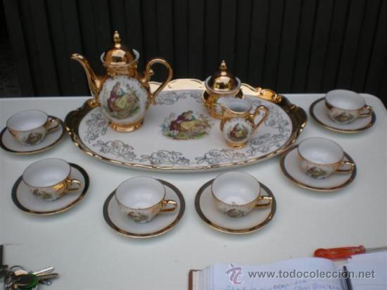 juego de te de porcelana alemana y dorada porcelana