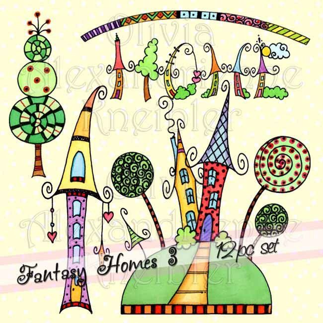 Fantasie Häuser 3 herunterladbaren ClipArt persönliche