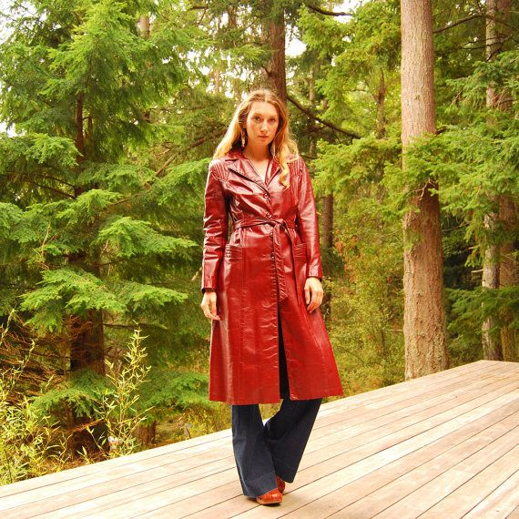 60s 70s Leather Jacket, MED Rust Red Leather Trench Coat, Vintage 1970's Leather Coat, 60s mod Jacket, Long Leather Jacket, Fall Winter