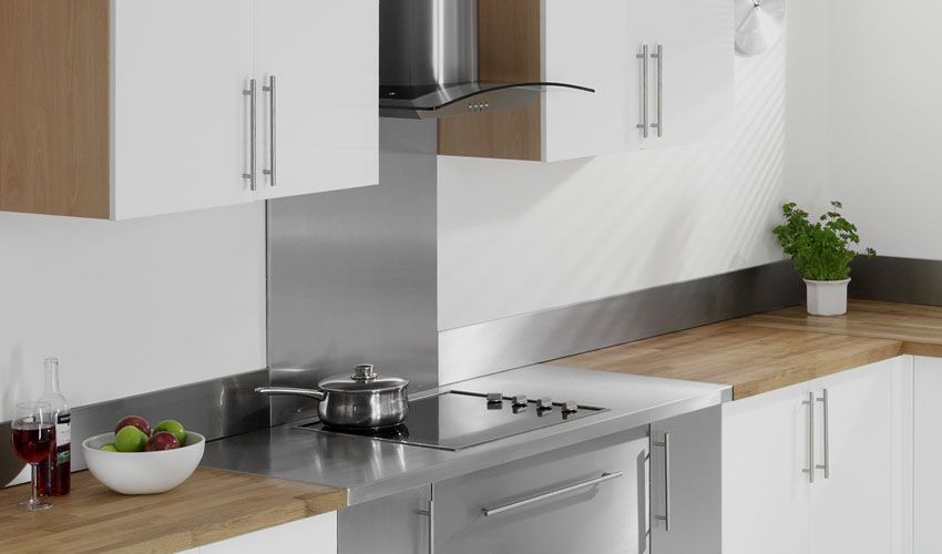 Stainless Steel Backsplash With White Cabinet Wood Worktop Home