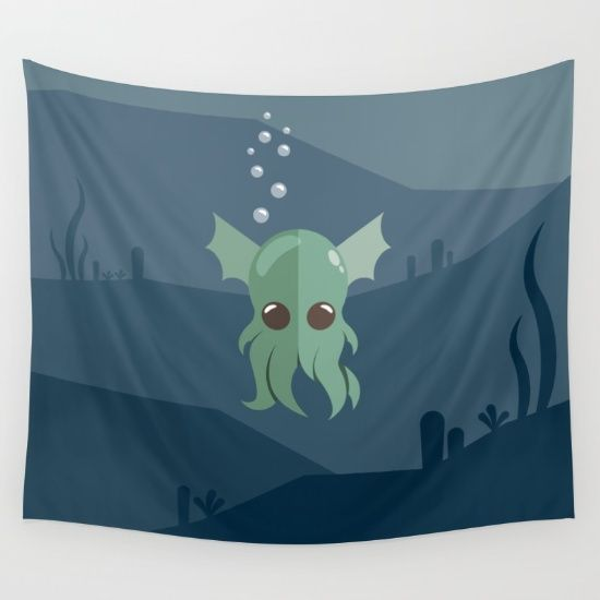Cthulhu Wall Tapestry - Lovable Legends, mythical creature, octopus, demon, tentacles, legend, sea, ocean, water, seaweed, squid, cute, baby cthulu, art, design, vector, illustration