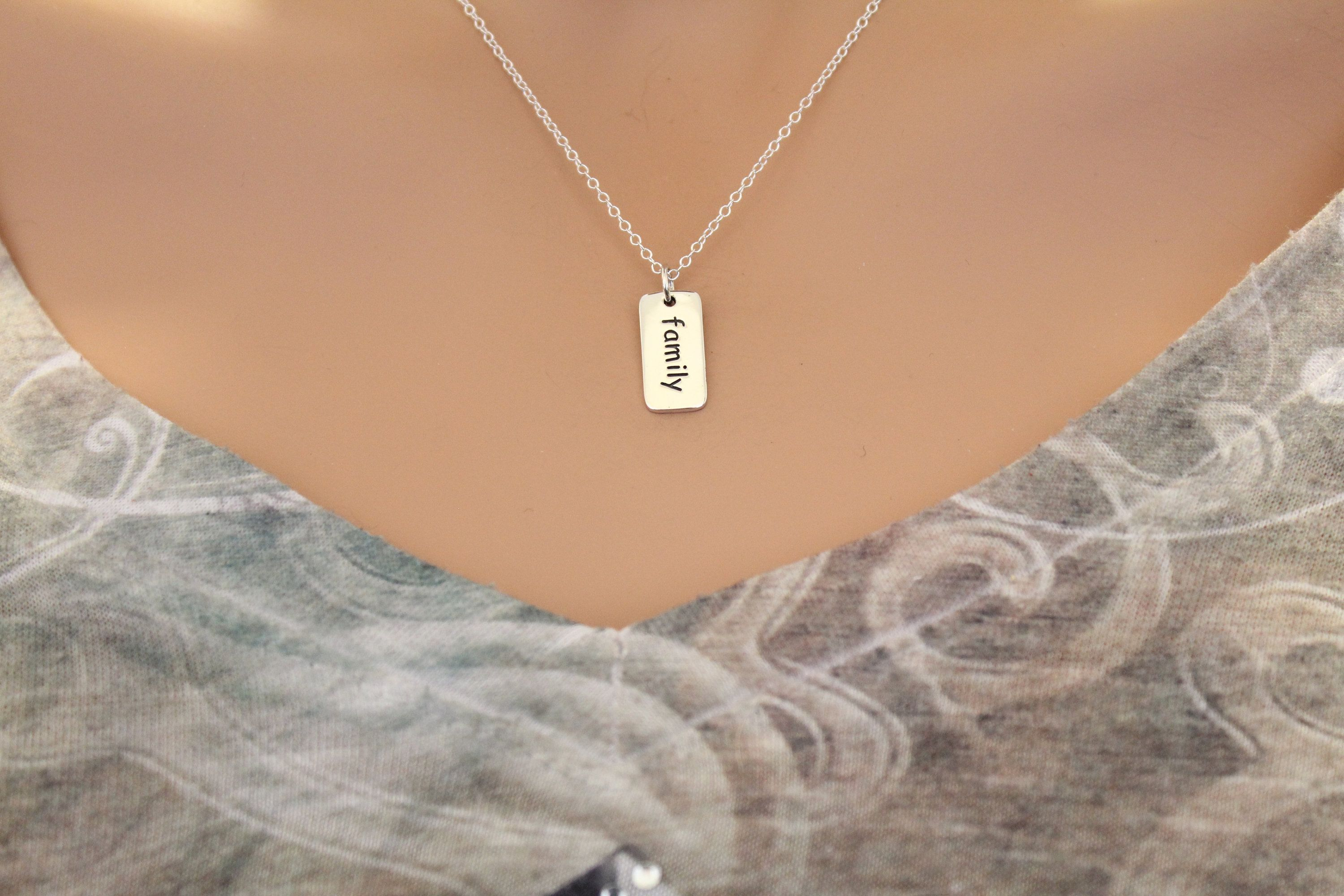 Sterling Silver Word Charm - Family Necklace, Silver Family Word Pendant Necklace, Silver Family Necklace,