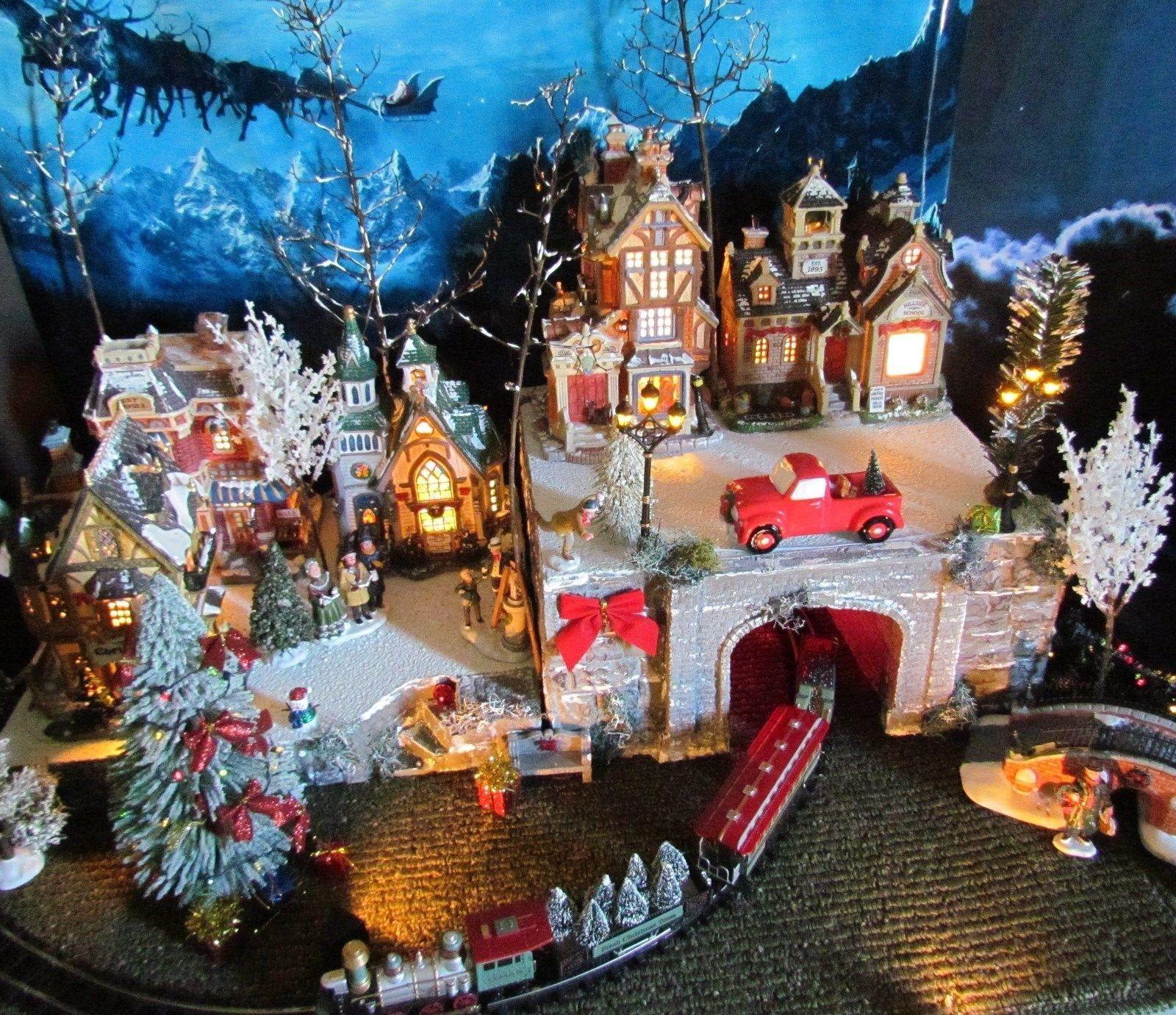 LIGHTED 28x12, 2-piece Train Tunnel Christmas display PLATFORM BASE, Miniature village, for Lemax & Dept 56 Snow village stand Qp