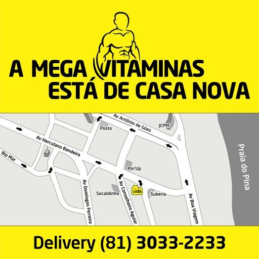 Novo endereço da #MegaVitaminas: Av Herculano Bandeira, esquina com a Rua Capitão Rebelinho. Ligue (81) 3033-2233