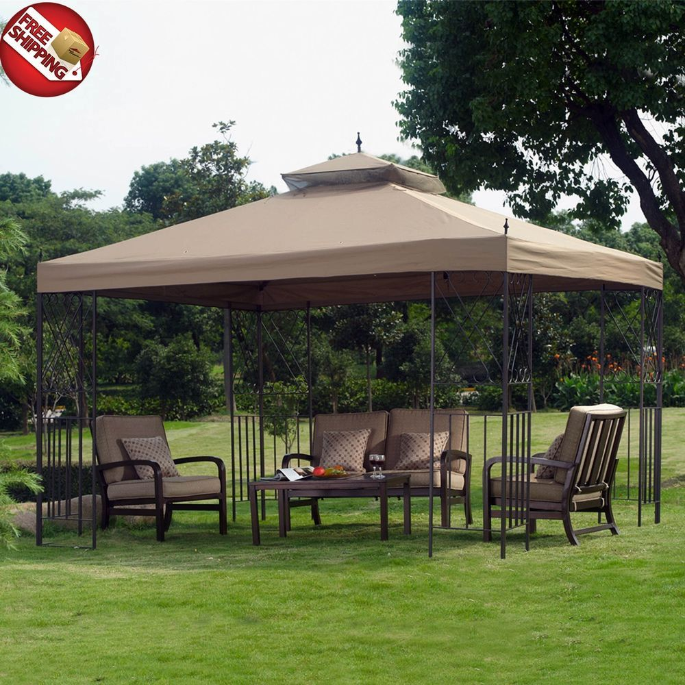 Metal Fabric Gazebo Canopy Outdoor Patio Tent Garden Cover Yard Steel Brown  Roof