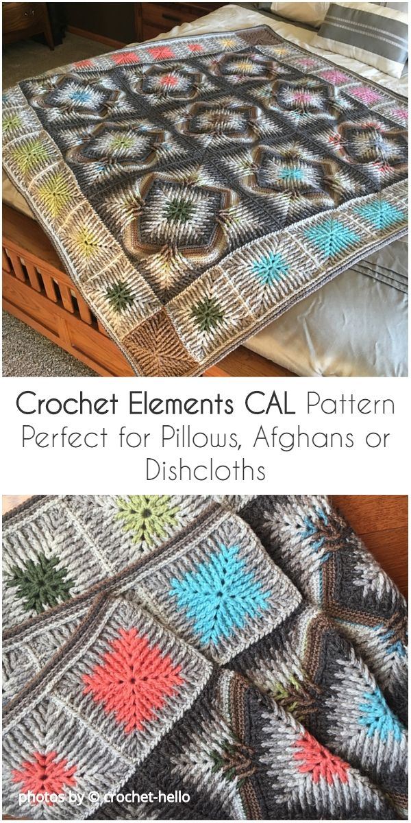 Crochet Elements CAL Pattern Perfect for Pillows, Afghans or Dishcloths #elementscal #crochet #crochetelements