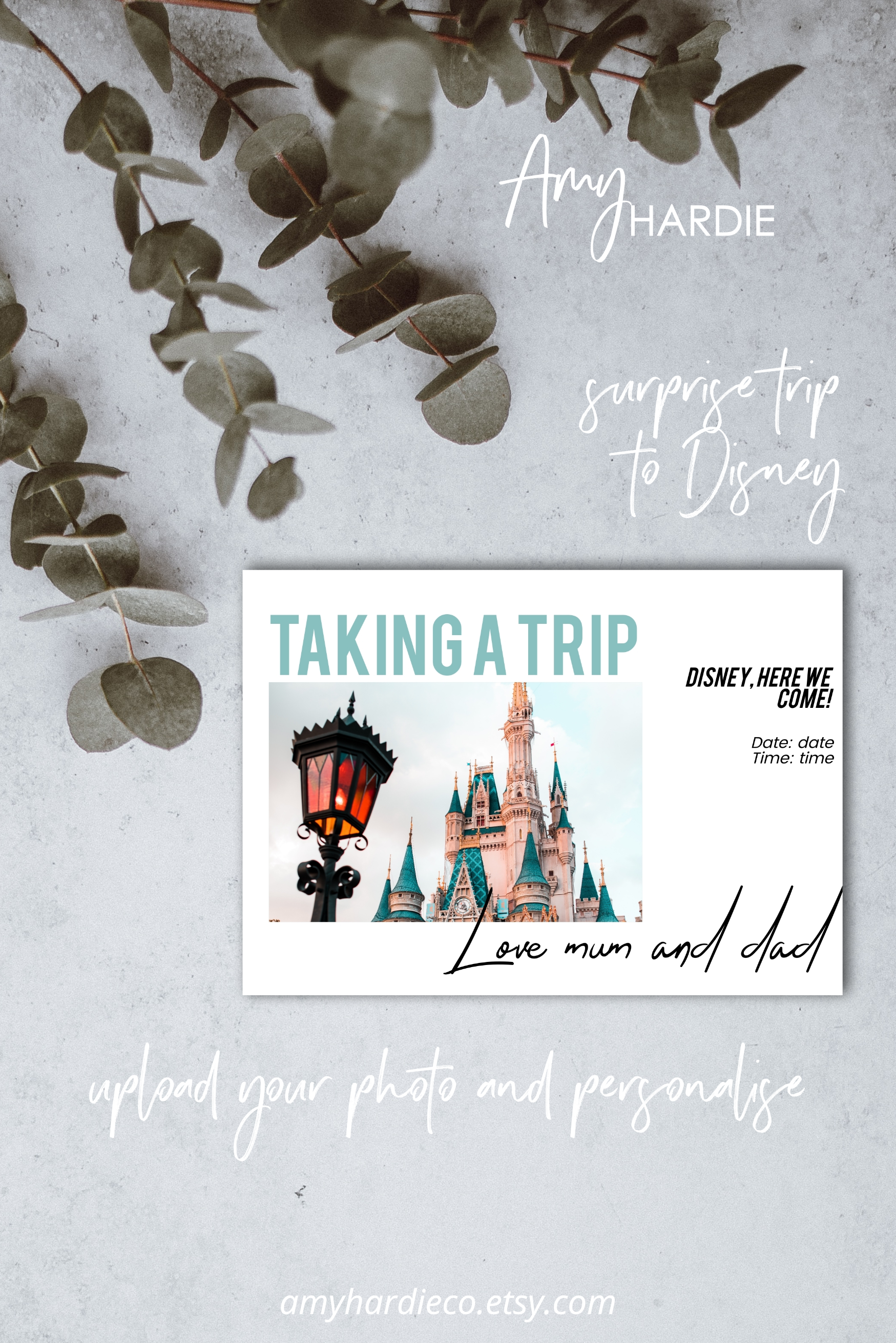 If You Are Planning A Surprise Trip To Disney This Card Is The Perfect Way To Gift The Surprise Upload Y Gift Card Template Digital Gift Card Gift Card Design