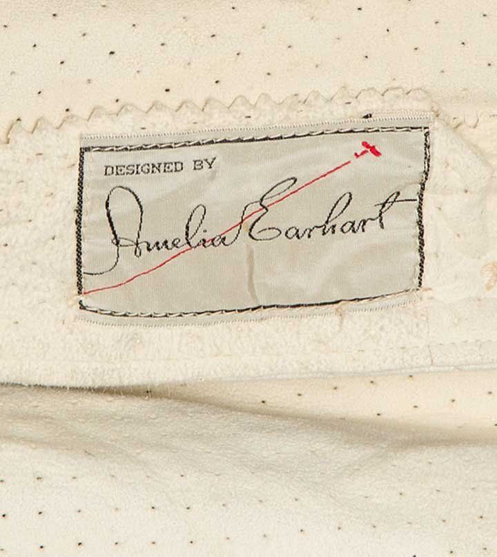 Detail, label of perforated leather jacket designed by Amelia Earhart, 1930s
