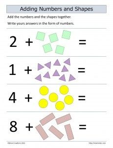 Adding Numbers And Shapes Education Math Free Math Worksheets Math Lesson Plans