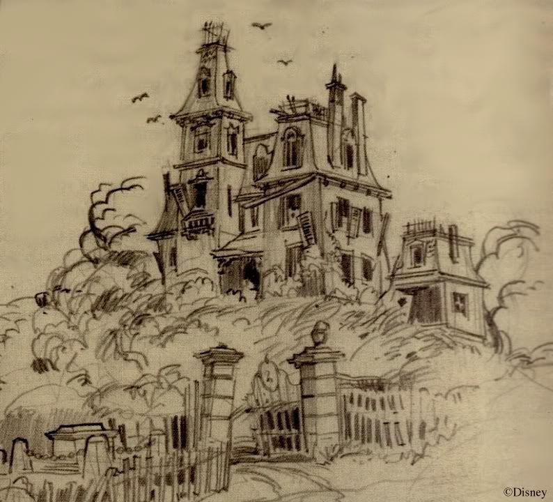 Harper Goff Haunted House Sketch Originally For A Residential Area Off Of Main Street