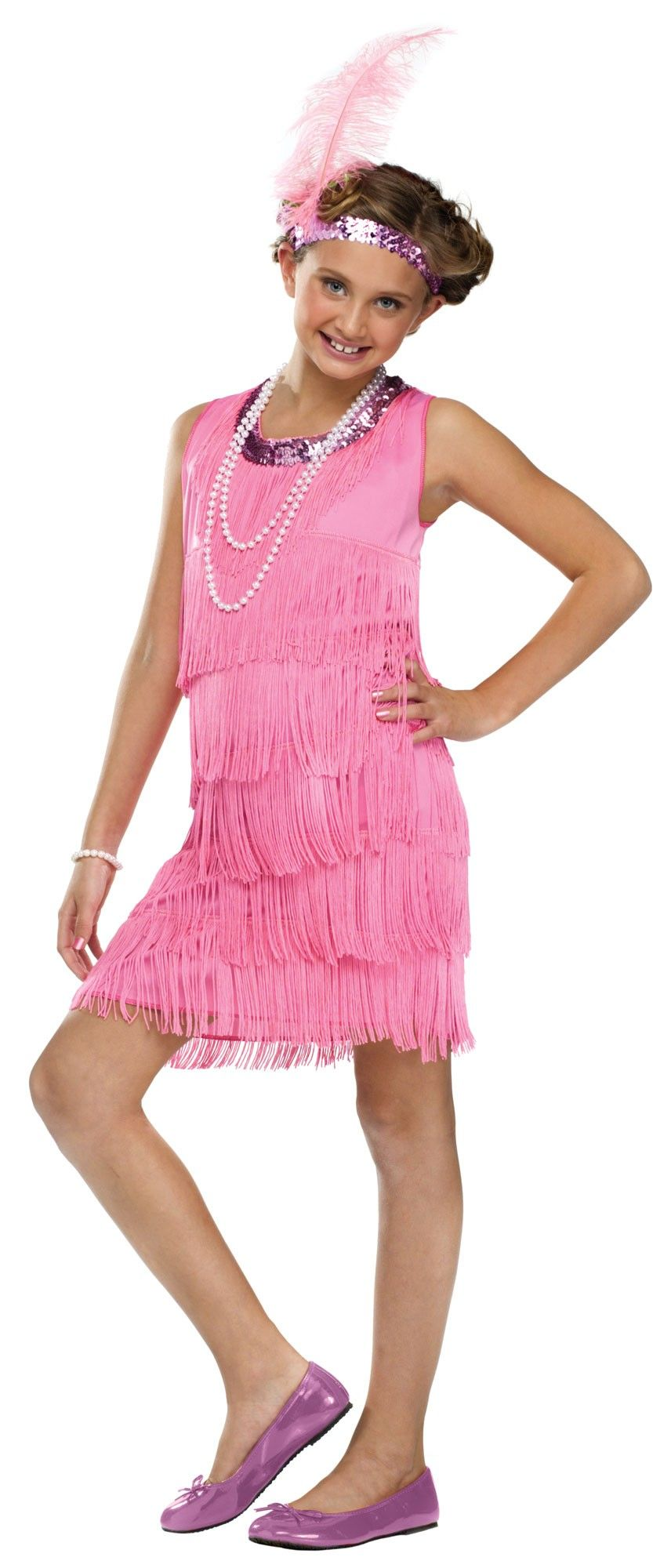d1fa30e7258 1920s Pink Flapper Kids Costume - Show the stage your Charleston in this  sweet little flapper dress costume this Halloween. The dress is made from a  soft ...