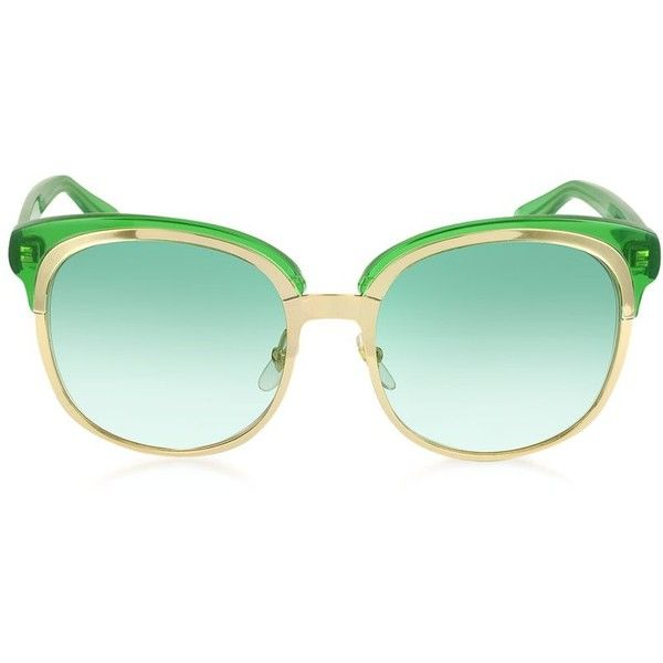 Gucci Designer Sunglasses GG 4241/S EZA7L Green and Gold Women's... ($450) ❤ liked on Polyvore featuring accessories, eyewear, sunglasses, glasses, naocare, oversized sunglasses, mirror lens sunglasses, oversized glasses, gucci sunglasses and gucci eyewear