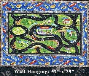 """Hot Rods Ride Again Kit  Your kid will love to race all over this quilt complete with pit stops. Finished size is 52"""" x 39"""" Backing and Batting not included. $35.00"""