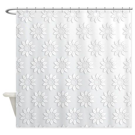 White On White Daisy Pattern Shower Curtain On Cafepress Com