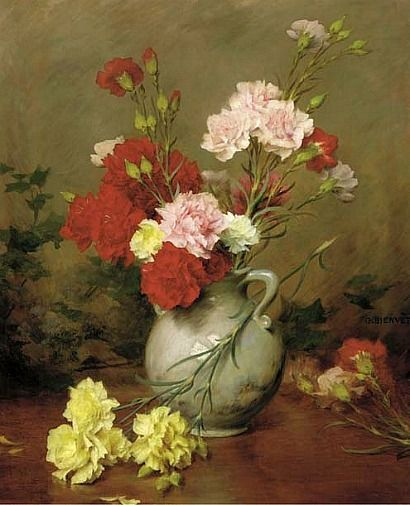 Carnations In A Vase A Garden Beyond Gustave Bienvetu Floral Art Paintings Flower Painting Floral Painting