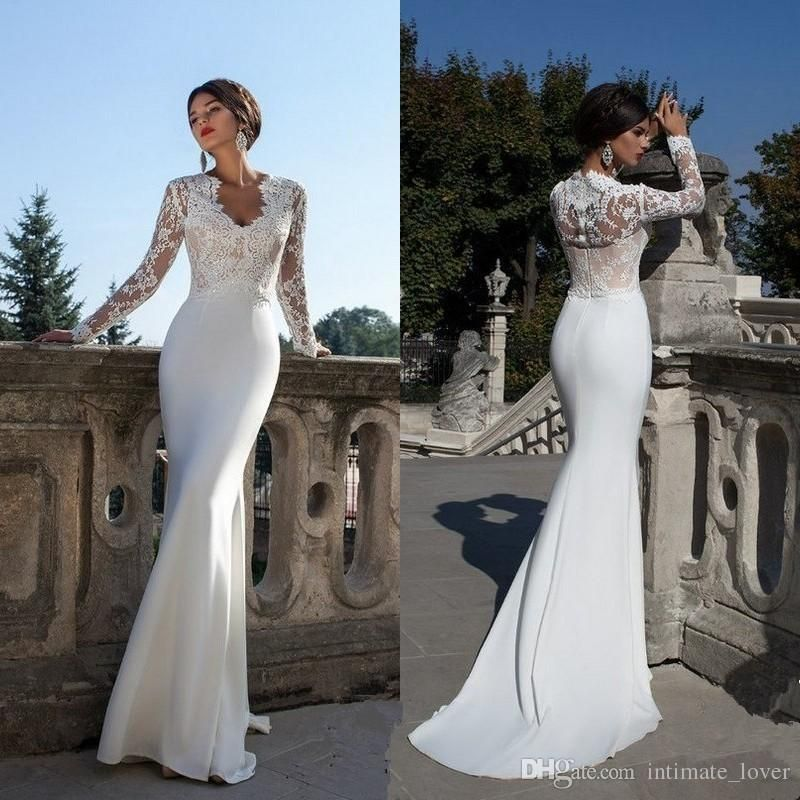 Simple White Satin Sweep Train Mermaid Wedding Gowns Long Sleeve