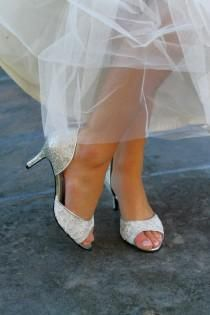 Wedding Shoes Silver Gold Metallic Dorsay Peep Toe Low Heel Short High