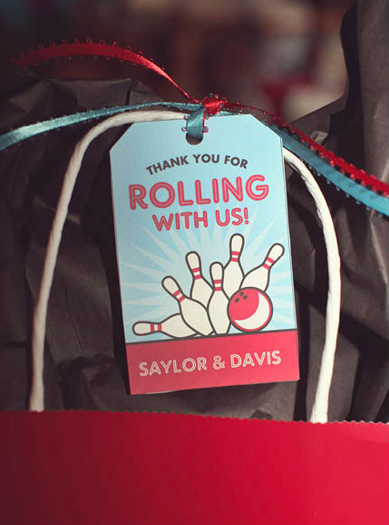 Bowling party favor tag - from chickabug.com