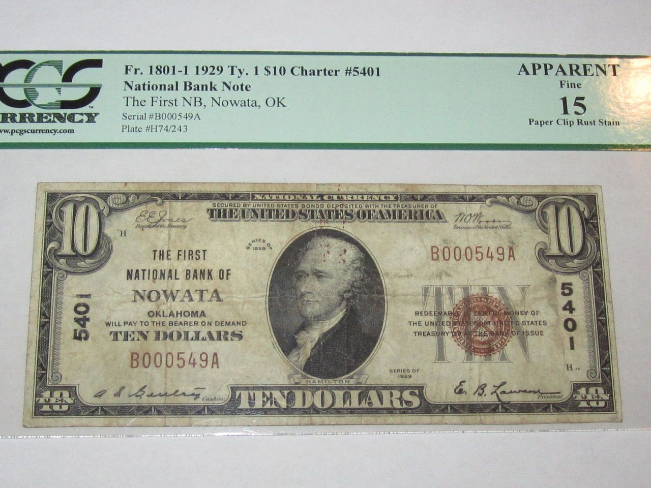 10 1929 nowata oklahoma ok national currency bank note