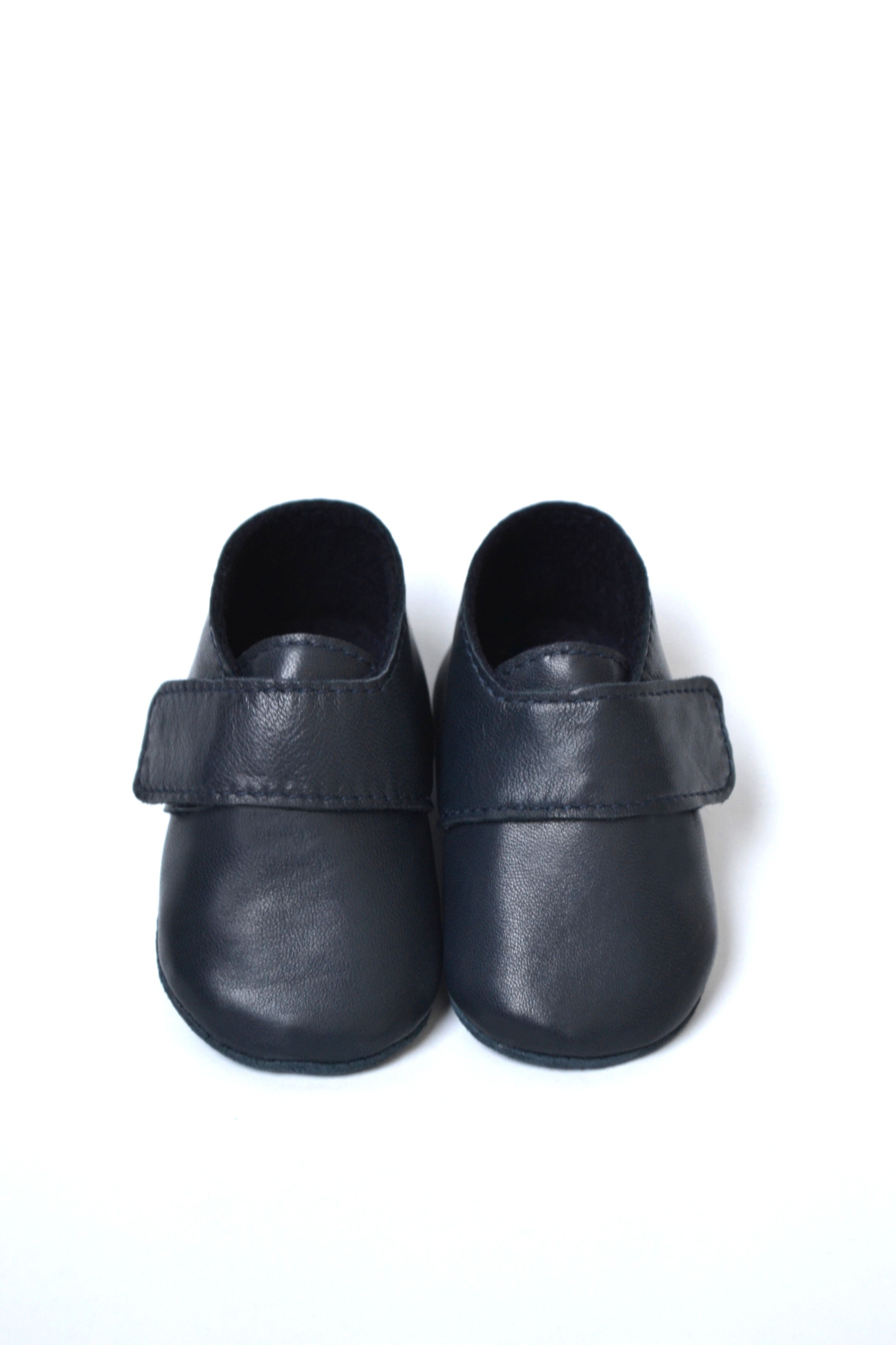 Handmade soft sole leather baby boy booties Navy baby boy shoes