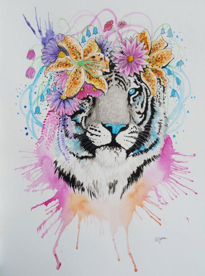 Tiger art print by jonna lamminaho society6 elmy a - Dessin peinture facile ...