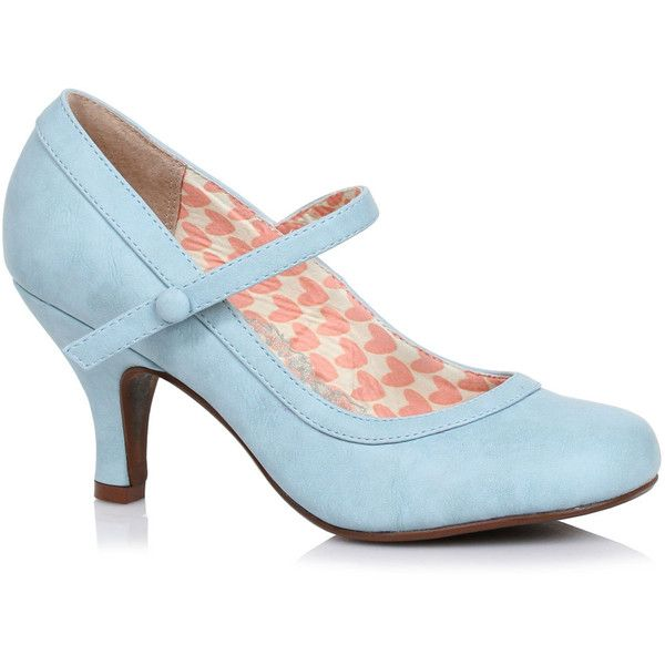 fe834c701f Powder Blue Leatherette Bettie Retro Mary Jane Heels ($68) ❤ liked on Polyvore  featuring shoes, pumps, vintage, light blue, high heel mary janes, ...