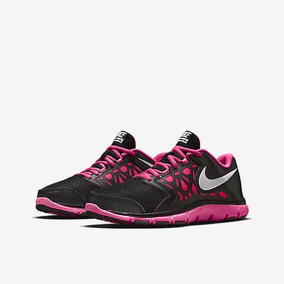 Nike Flex Supreme Tr 4 Gs Kids 759998-001 Black Pink Training Shoes Girls  Size