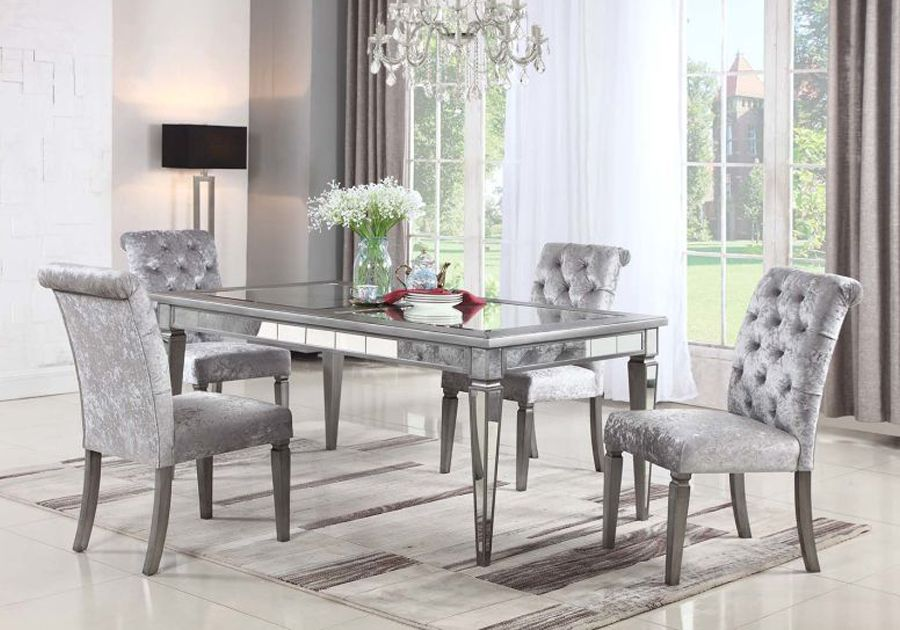 Monroe Mirror 5 Pc Dining Room Silver Living Room Table Upholstered Dining Table Silver Living Room