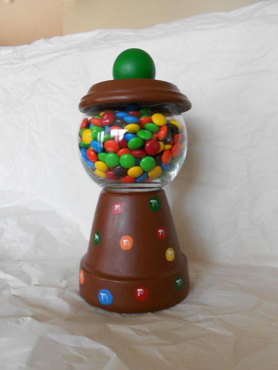 diy clay pot candy dish M & M Clay Pot Candy Dish  Clay pot crafts, Terra cotta pot