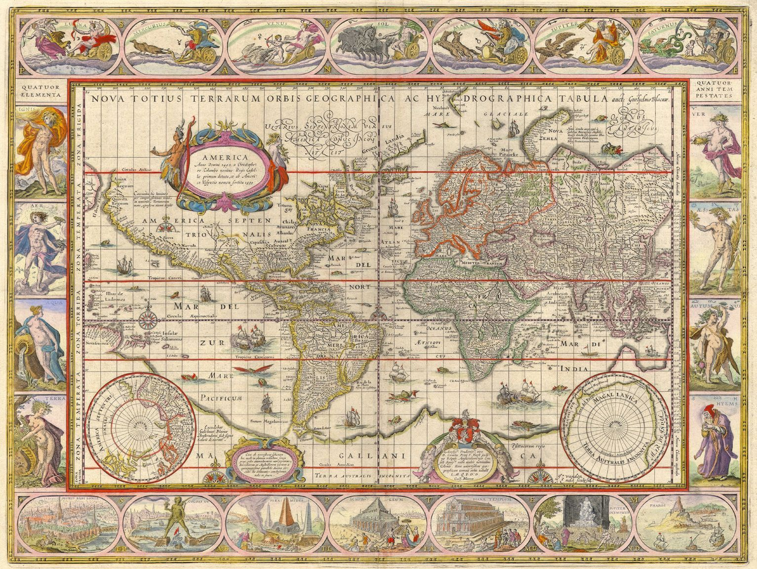 Nova totius terrarum orbis made in 1606 by the dutch cartographer antique world map old vintage map fade resistant hd art print or canvas in art prints gumiabroncs Image collections